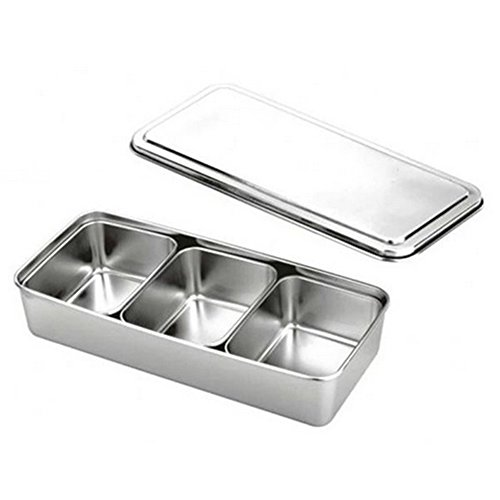 3 Lattice Nonmagnetic Japanese Type Square Seasoning Box Stainless Steel by Generic