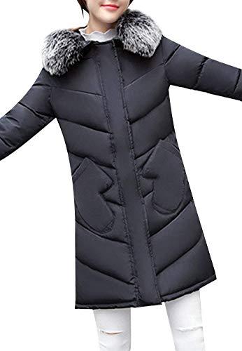 Colori Schwarz Stile Fashion Hx Trapuntata Invernali Cappuccio Cerniera Con Donna Solidi Transizione Anteriori Cappotto Tasche Di Chic Ragazza Mantello Piumini Giacca Modern Pulsante Casual U0rgCUqw