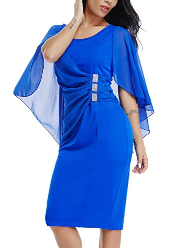 Lalagen Womens Chiffon Plus Size Ruffle Flattering Cape Sleeve Bodycon Party Pencil Dress Blue M