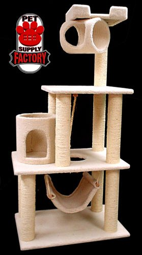 Majestic Pet Products 52 Inch Cat Tree Furniture Tower Condo House with Scratching Post, Multi-Level Activity Pet Tree (Beige Casita)