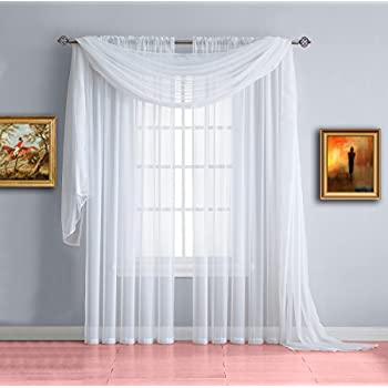 Warm home designs pair of short white sheer - Long or short curtains in living room ...
