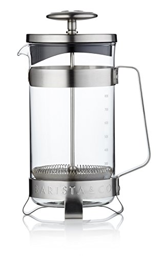 Barista & Co - Plunge Pot Cafetiere - Stainless Steel/Borosilicate Glass - Electric Steel - 8 Cup/1l