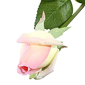 IPOPU Real Like Artificial Silk Fake Rose Buds, 10pcs Real Touch Latex Moisturizing Artificial Flowers for Wedding Bouquet House Garden Home Decoration Gift for Wife Mom Friends 89