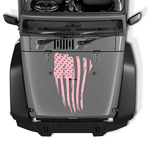 COZA Reversed Jeep Wrangler Decal Tattered Distressed USA American Flag USA Made + Free Decal (Pink)