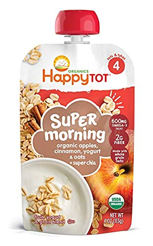 Happy Tot Organic Stage 4 Super Morning Organic Apple Cinnamon Yogurt Oats + Super Chia, 4 Ounce Pouch (Pack of 15) (Packaging May Vary) (Pack of 15) ()