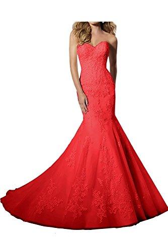 Hochzeitskleider Spitze La Rot Meerjungfrau Rot Abschlussballkleider mia Lang Elegant Ballkleider Abendkleider Braut qc0XBwax0