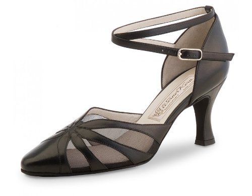 Werner Kern Women's Linda - 2 3/4'' (6.5 cm) Flare Heel, Black Leather, 9 M US (6 UK) by Werner Kern