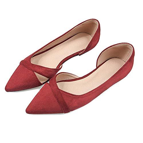Donna Red Damigella Da Comode D'onore Di Plnxdm Ballerine Pattini Casual Vestito Lavoro Basse Scarpe wqfAIzO