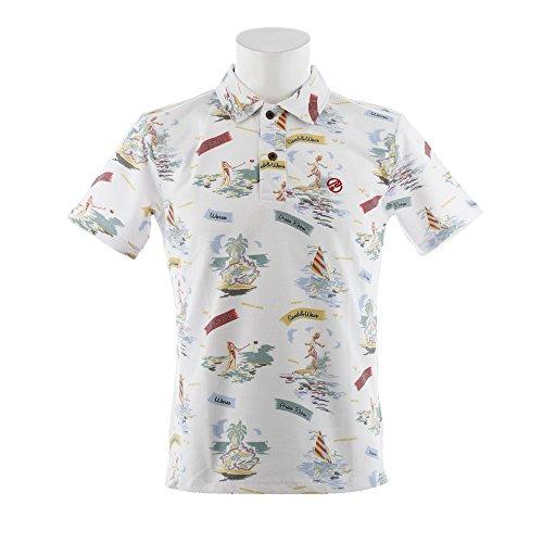 ポロシャツ メンズ ロサーセン ROSASEN ×ハワイアンムーン Hawaiian Moon 2018 春夏 ゴルフウェア M(48) ホワイト(005) 044-27440