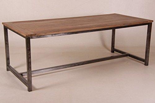 Casa Padrino Vintage Teak Esstisch Holzfarben mit Metallgestell - Landhaus Stil Tisch Teakholz, Tisch Abmessungen:220 x 100 cm x 78 cm H