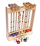 Amish-Crafted Deluxe 8-Player Croquet Game Set, Maple Hardwood (Four 28'' Handles/Four 32'' Handles)