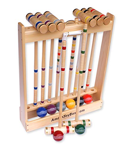 Amish-Crafted Deluxe 8-Player Croquet Game Set, Maple Hardwood (Four 28