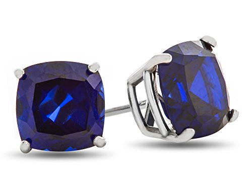 Finejewelers 7x7mm Cushion Created Blue Sapphire Post-With-Friction-Back Stud Earrings 14 kt White Gold