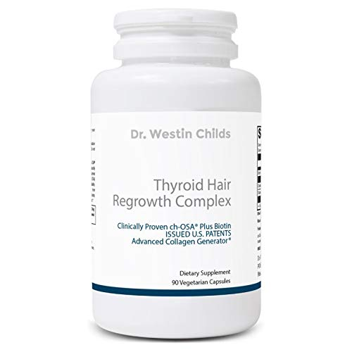 Thyroid Hair Regrowth Complex - Thyroid Hair, Skin & Nails Vitamin Designed to Naturally Support Hair Growth & Strength - Vegetarian, Non GMO - 30 Day Supply ()