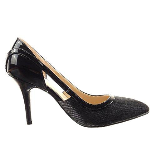 Sopily - Zapatillas de Moda Tacón escarpín stiletto Tobillo mujer brillante Talón Tacón de aguja alto 9 CM - plantilla sintético - Negro