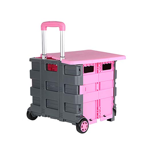 dable PP Plastic Can Sit Storage Box Telescopic Rod with 4 PVC Wheels Supermarket, 36 X 32 X 32cm (Color : Pink) ()