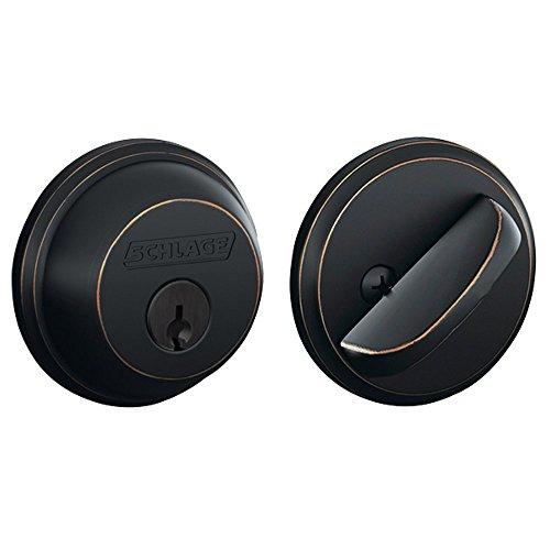 SCHLAGE LOCK CO B60NV716 Single Cylinder Deadbolt, (Black N White Faceplates)