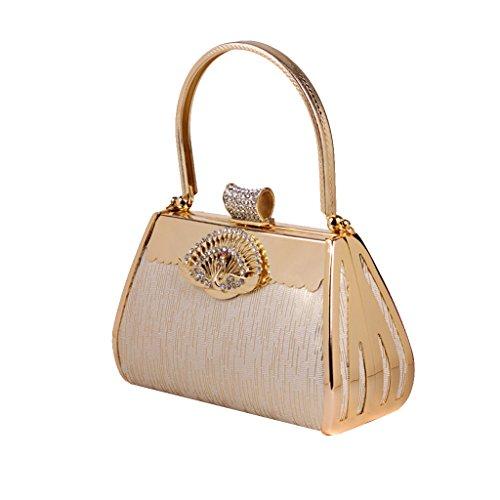 Gazechimp Damen Pfaurhinestone Abend Clutch Handtasche Wristlet Handgeldbeutel Gold