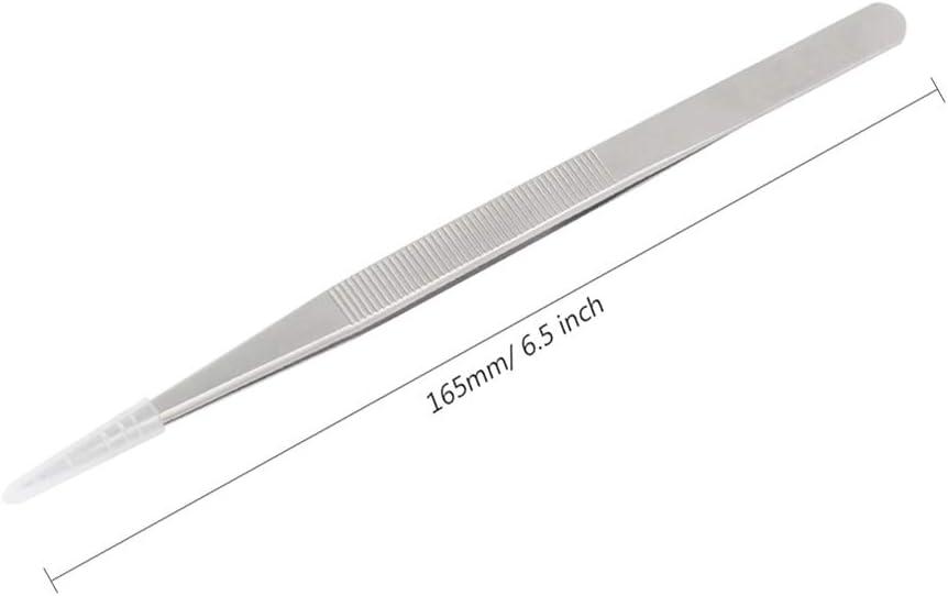 antideslizantes para relojero joyer/ía Pinzas largas de acero inoxidable de 16,5 cm herramientas de reparaci/ón electr/ónicas