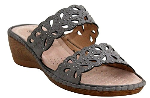 Shoes Heel UK on Walk 3 Studded 8 Ladies Grey Sandals Wedge Summer Cushion Beach Sizes Slip Womens wnFPqq1I