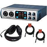 PreSonus Studio 26-2x4 192 kHz, USB 2.0 Audio/MIDI Interface with R100 Stereo Headphones and 2x XLR Cable
