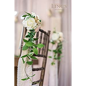 Ling's moment Wedding Aisle Decorations Flowers for Chairs Set of 8 Cream Blush Pew Flowers with Drapes 4