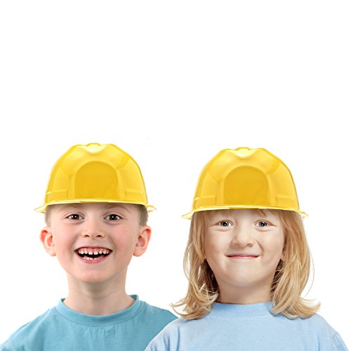 Plastic Hard Hats For Kids (24 Pack of Child Size Plastic Yellow Construction Hats for Young Builders by Bottles N Bags)