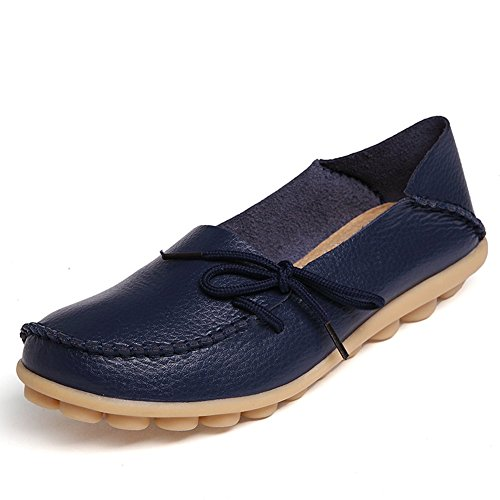 KALEIDO New Size Version Womens Driving Shoes Cowhide Leather Casual Lace-Up Loafer Flats Boat Shoes Dark Blue