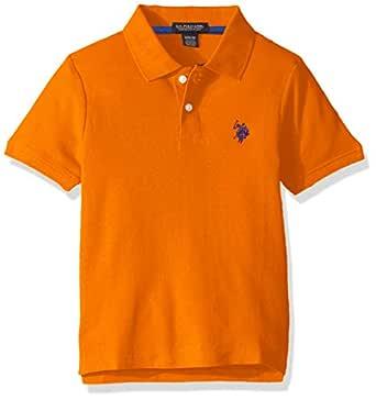 U.S. POLO ASSN. Boys' Toddler Short Sleeve Performance Polo Shirt, Canoe Orange, 2T