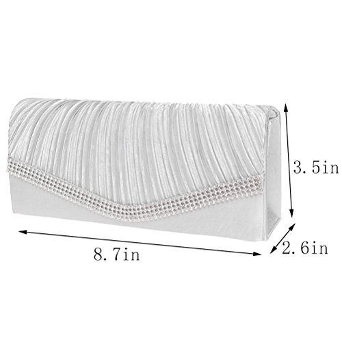 Clutch And Satin Clutch Purses Womens Party Crystal Wedding White FASHIONROAD For Envelope Evening p1dqxfvf