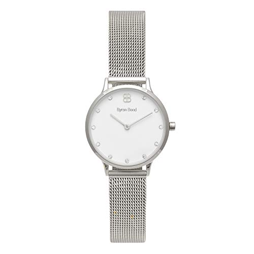 (Byron Bond Mark 5 - Luxury 32mm Wrist Watches for Women (Waterloo - Silver Case with White Dial with Crystals and Silver Mesh Strap))
