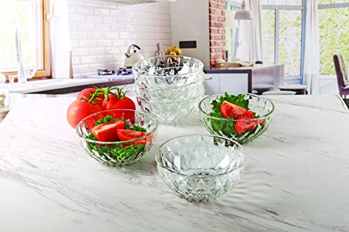 Circleware Treasure Glass Bowls, Set of 6, Home Serving Dish Glassware for Fruits, Salad, Punch, Dessert, Food, Cheese, Candy, Ice Cream, Best Gifts, 12 oz