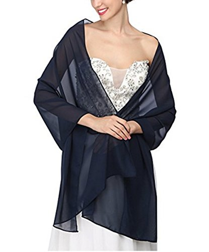 Formal Dress Shawls - AngelaLove Chiffon Bridal Wedding Shawl Wrap Prom Evening Dress Stole Scarves (Navy Blue)