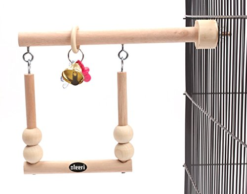 Wood Bird Cage Accessories Wooden Parrot Perch Stand Birdcage Stands Pet Parakeet Budgie Hanging Play Toy (A) by sleeri