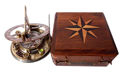 MAH Top Grade 5 Inch Perfectly Calibrated Large Sundial Compass with Wooden Box. - Solar Sundial