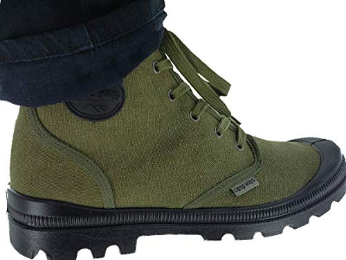 Farm Blue Mens Hiking Boots - Rugged Outdoor Ranger Boot - Water Resistant High Top Canvas Trekking Ankle Shoes for Men with Cushioned Insole with Arch Support & Rubber Sole -OD Green- Sizes 5-13 US
