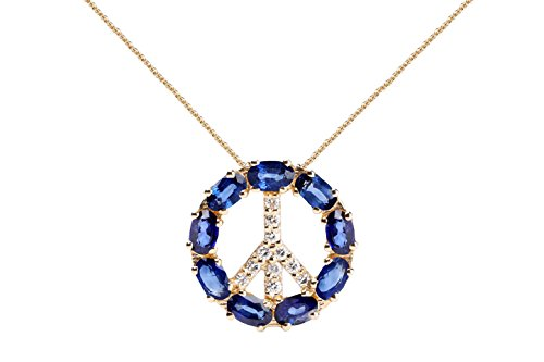 Blue Sapphire Necklace with Diamonds & 18K Gold Chain | Irresistible Sapphire Peace Sign Pendant Jewelry | Perfect Valentine's Day, Anniversary & Birthday Gift by Albert Hern