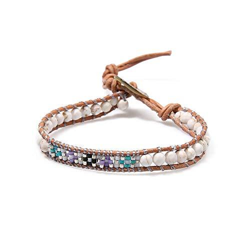 - BALIBALI Miyuki Seed Beads Leather Boho Handmade Semi-Precious Gem Stones Wrap Adjustable Bead Bracelet Bohemian Yoga Weave Bangle (Brown Leather(White Turquoise))