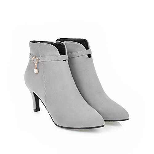 BalaMasa Gray Pointed Ankle Boots Wrap Suede Beaded Ankle High Womens ABL10573 Toe rwTnxBPSr