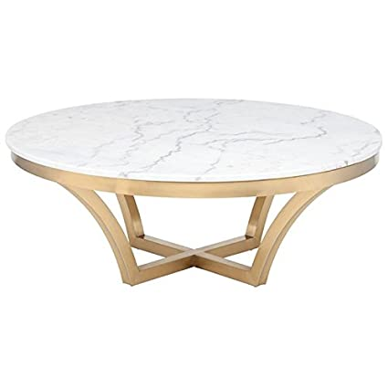 Amazoncom Maklaine Round Marble Top Coffee Table In Gold And White
