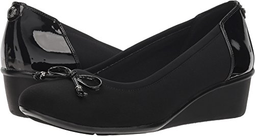 Anne Klein AK Sport Women's Darlene Wedge Pump Ballet Flat, Black Combo Fabric, 6 M US