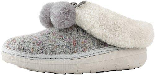 - FitFlop New Women's Loaff Snug Pom Slipper Dusty Grey 7