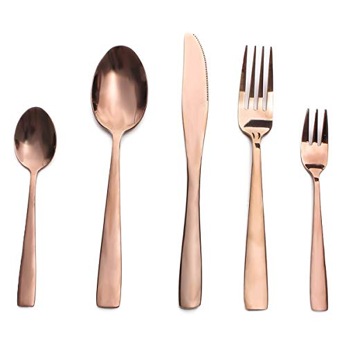(Silverware Set, MEJAJU 20 Pieces Stainless Steel Eating Utensil Set with Gift Box, Include Knife, Forks and Spoons, Mirror Polished Flatware Set for 4, Dishwasher Safe, Gold)