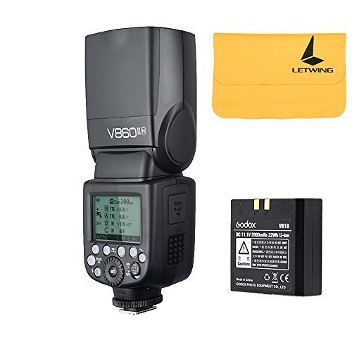 Godox V860II-N 2.4G TTL Li-on Battery Camera Flash Speedlite for Nikon D800 D700 D7100 D7000 D5200 D5100 D5000 D300 D300S D3200 D3100 D3000 D200 D70S D810 D610 D90 D750 (V860II-N) by Godox