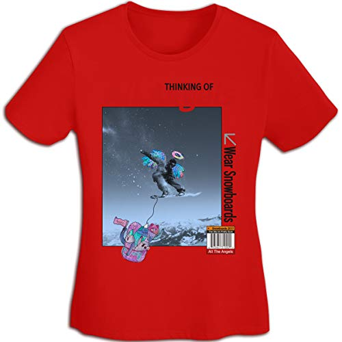 MiiyarHome Women's T-Shirts GNU Snowboards, Girls Tee Short Sleeves Ladies Teen Jersey Shirt Red S ()