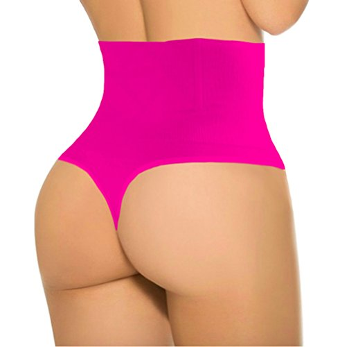 (ShaperQueen 102B Thong - Women Waist Cincher Girdle Tummy Slimmer Sexy Thong Panty Shapewear (XS, Hot Pink))