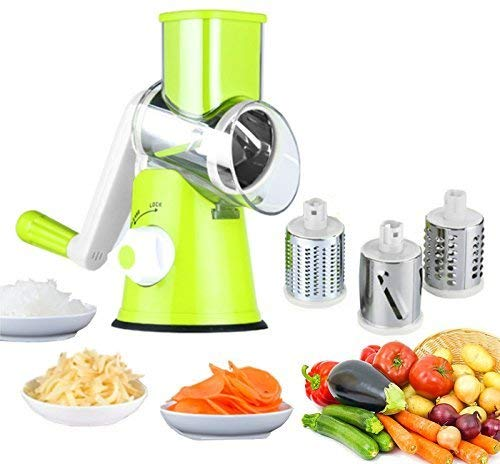 Edofiy Manual Speedy Rotared Vegetable Fruit Cheese Nut Slicer Cutter Shredder Grinder With 3 Interchangeable Round Stainless Steel Blades