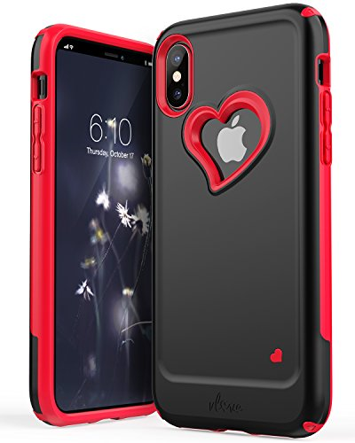 iPhone X Case, Vena [vLove] Heart Shape | Dual Layer Protection, Hybrid Bumper Cover Case for Apple iPhone X, iPhone 10 - Metallic Black/Bright Red -