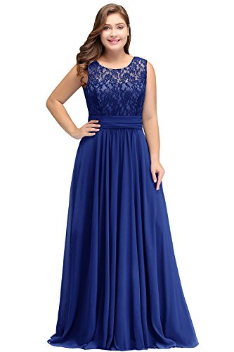 Babyonlinedress Women's Floral Lace Chiffon Long Bridesmaid Maxi Dress,Plus Size 18W, Royal Blue from Babyonlinedress