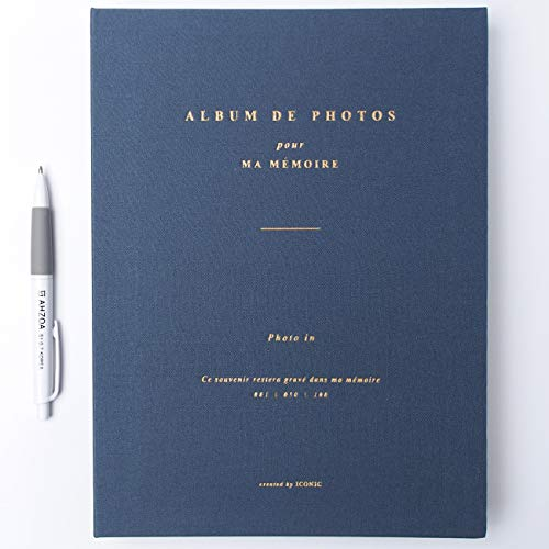 Navy Blue Film - Photo in Photo Album with AHZOA Pencil, 50 Pages for 100 Photos, 7.9 x 10.7 Inches (Navy)